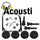 Acousti Products. Image shows the AcoustiFeet, Acousti fan mounts and Acousti fan gasket.