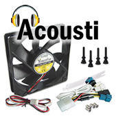 Acousti Products DUSTPROOF 120mm Quiet PC Fan. Image shows black 120mm computer fan with anti-vibe mounting and fan speed control accessories. Click for more details.