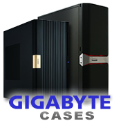 Gigabyte Cupio quiet mid tower PC case, and the Gigabyte Sumo 4112 full tover PC case. Image shows Gigabyte logo and PC cases in black. Click for more details.
