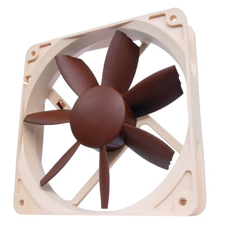 Image shows the Noctua NF-S12B ULN quiet computer fan with beveled blade tips.