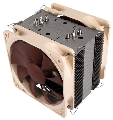 Image shows the Noctua U12P SE2 quiet CPU cooler front.