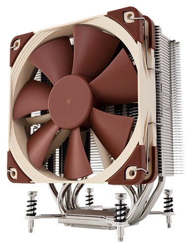 Image shows the Noctua NH-U12DX i4 quiet CPU cooler front.