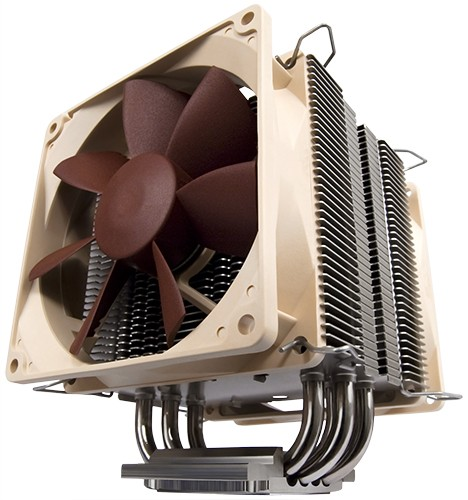 Image shows the Noctua U9B SE2 quiet CPU cooler front.