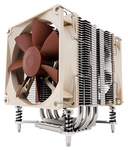 Image shows the Noctua NH-U9DX i4 quiet CPU cooler front.