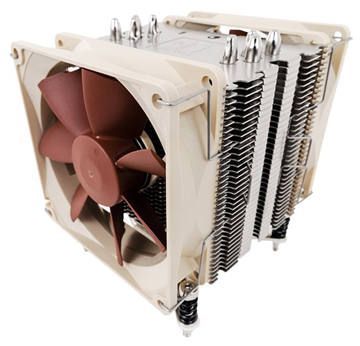 Image shows the Noctua U9DX i4 quiet CPU cooler front.