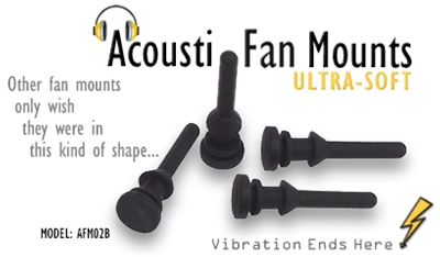 Acousti Black Fan Mounts Silicone Polymer 4 Pack.
