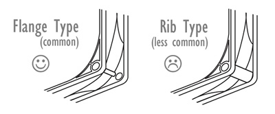 Fan Types. Image shows the difference between flange type fan molding (more common) and a rib type (less common).