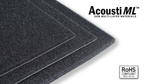Image shows three different sheets of acoustic materials.