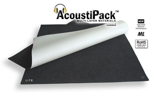 AcoustiPack™ LITE. Image shows the unpacked PC sound-proofing kit, showing 2 thin black sheets of acoustic materials (foam side up). The upper sheet is folded over revealing a white self-adhesive release paper on the underside of the sheet. Image also contains icons reading: new improved acoustic performance, multi-layer and RoHS Compliant.
