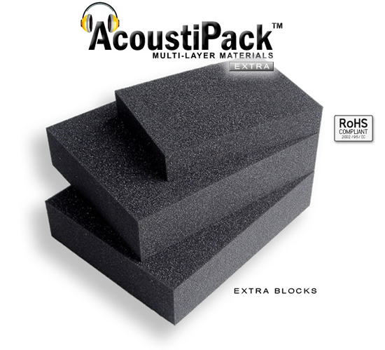 AcoustiPack™ EXTRA Foam Blocks. Image shows 3 black acoustic foam blocks unpacked. Image also contains icons reading: RoHS Compliant.