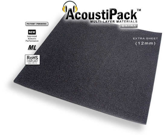 AcoustiPack™ EXTRA Sheet (12mm). Image shows a single black sheet of acoustic materials. Image also contains icons reading: patent pending, new improved acoustic performance, multi-layer and RoHS Compliant.