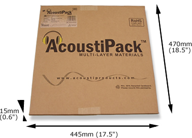 Image shows the AcoustiPack retail packaging.