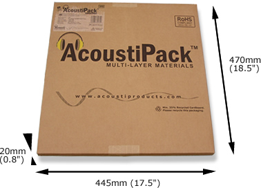 Image shows the AcoustiPack retail packaging for sound reduction materials.