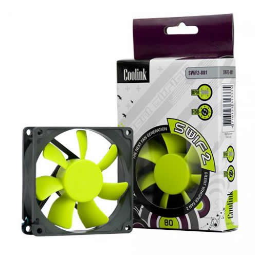 Image shows the Coolink SWiF2 80mm Quiet Cooling Fan