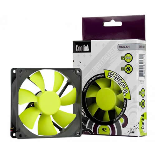 Image shows the Coolink SWiF2 92mm Quiet Cooling Fan