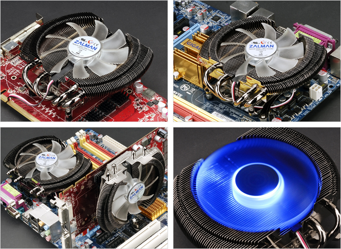 Image shows the Zalman VF2000 as a VGA and GPU cooler, CPU cooler, both a CPU and a VGA or GPU cooler and with the fan LED lights.