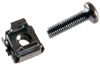 Image shows the XrackPro cage nuts & screws for quiet server racks and cabinets.