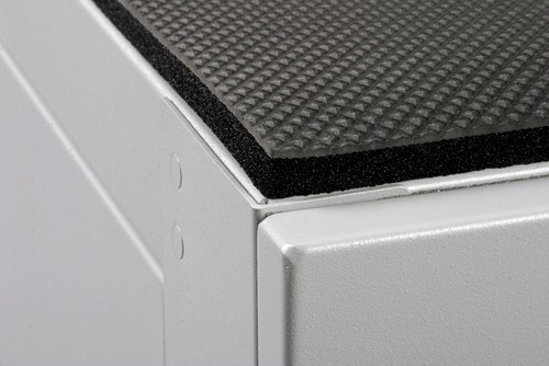 Image shows the XrackPro  equiptment isolation mat for quiet server racks and cabinets.