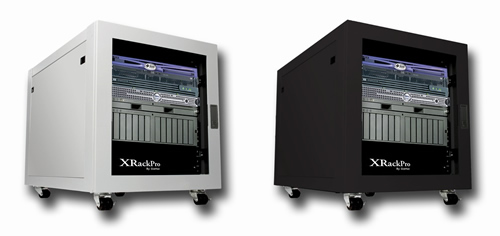 Image shows the new XRackPro2 studio rack 12U rackmount near silent  enclosure cabinet.