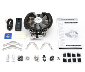 Image shows the Zalman VF2000 GPU and CPU cooler components.