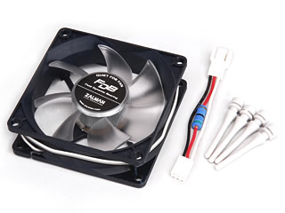Image shows the Zalman F1-FDB 80mm Fan components.