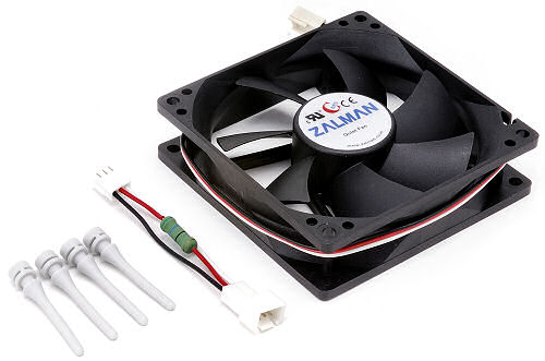Image shows the Zalman ZM-F2 mm Plus with fan mounts and connection cable.