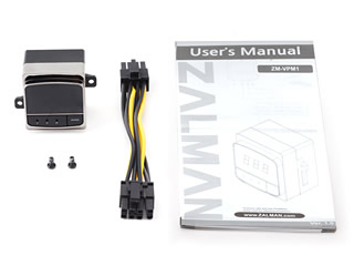 Image shows the components for the Zalman  ZM-VPM1 VGA Power Consumption Meter.