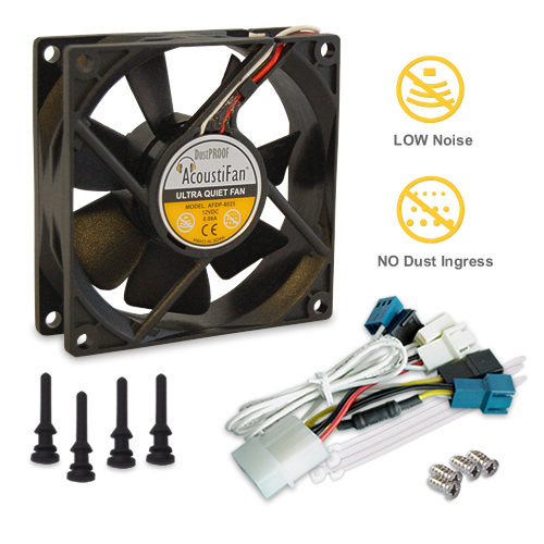 AcoustiFan DustPROOF Premium Quality Ultra Quiet Computer Fan - 80mm AFDP-8025B